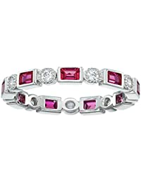 3010c8856 Platinum-Plated Sterling Silver Created Ruby All-Around Band Ring set with  Swarovski Zirconia