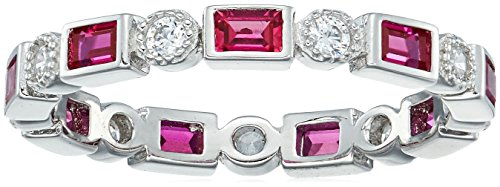 Platinum-Plated Sterling Silver Created Ruby All-Around Band Ring set with Swarovski Zirconia Accents, Size 8