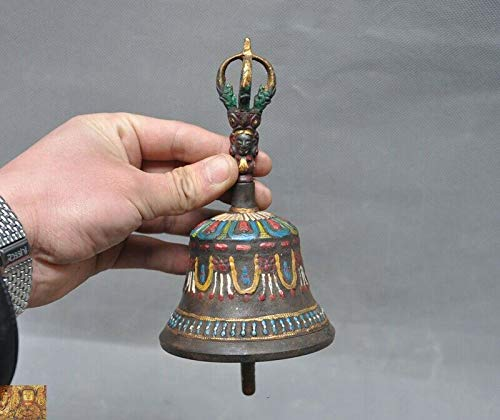 SIYAO Wedding Decoration Tibetan Buddhism Bronze Gilt Hand Painted Tara Exorcism Bell Chung Chimes Clock - Hand Painted Gilt
