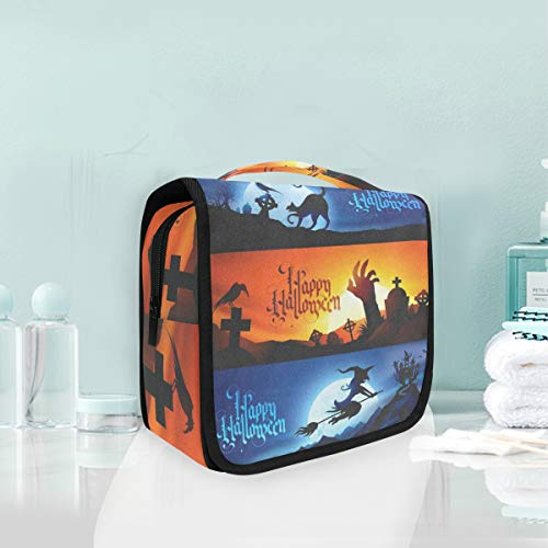 Toiletry Bag Halloween Witch Black Cat Tomb Hanging Organizer Bag Wash Gargle Bag Cosmetic Bag Portable Makeup Pouch with Hanging Hook Travel ()