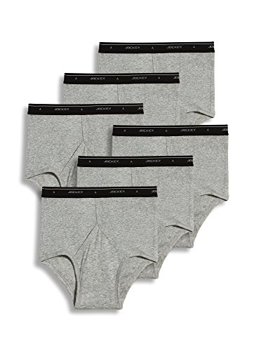 Jockey Men's Underwear Classic Full Rise Brief - 6 Pack, Grey Heather, 34