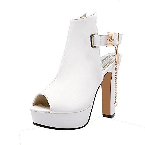 ENMAYER Frauen-Plattform-Quadrat-Fersen-Wölbungs-Schuhe Western-hohe Absätze Art- und Weisepeep-Zehe-Sandelholze Weiß
