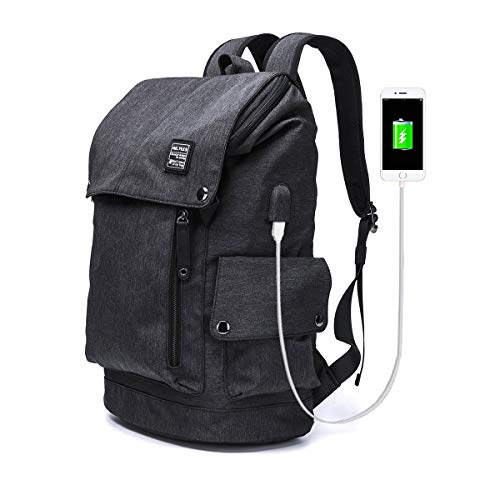 MR.YLLS Business Laptop Backpack for Men/Women Anti theft Tear/water Resistant Travel bag School/College Backpack fits up to 15.6 Inch Notebook Computer USB Charging Backpack (Black)