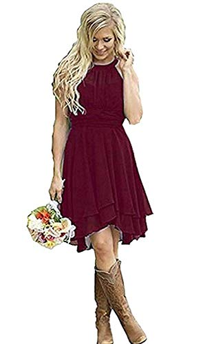Meledy Women's Plus Size Country Bridesmaid Dresses Western Wedding Guest Wears Short Maid of Honor Gown Burgundy US28 ()