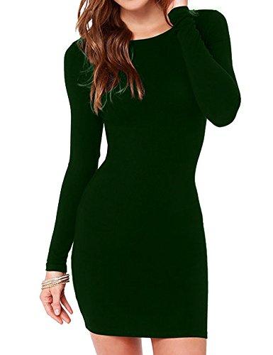Corset Mini Sexy (Haola Women's Sexy Casual Long Sleeve Short Dress Mini Dress M DarkGreen)