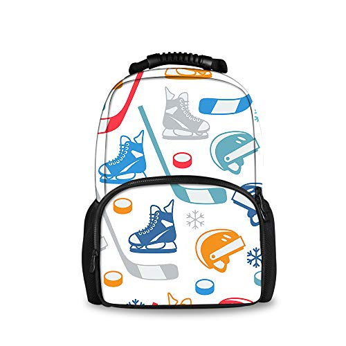 JACINTAN Fashion Kids 3D Hockey Elements Creative Backpack Cool College Students Large Felt School Bags