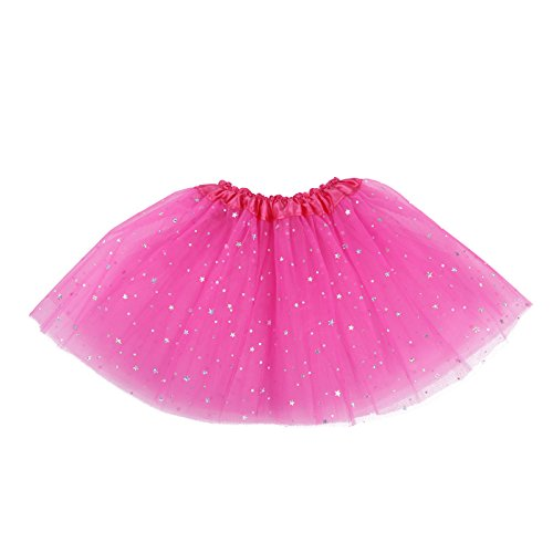 [HDE Girls Tutu Layered Ballet Dance Stretch Skirt Glitter Stars Little Girls Princess Dress Up Costume (Hot] (Princess Anastasia Halloween Costume)