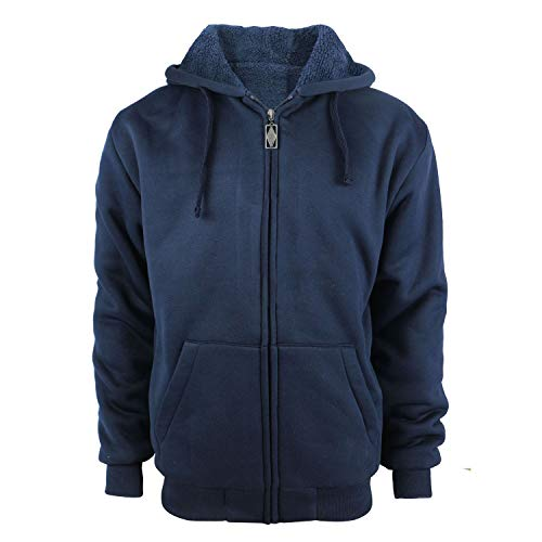 TanBridge Heavyweight Sherpa Lined Plus Sizes Warm Fleece Full Zip Mens Hoodie with Padded Sleeve & Rib Cuffs Navy 2XL