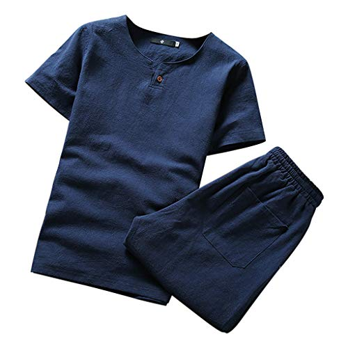 2 Piece Outfits Loungewear for Men,NEWONESUN Mens Pjs Short Sleeve T-Shirt Shorts Suit Tracksuit Summer Navy