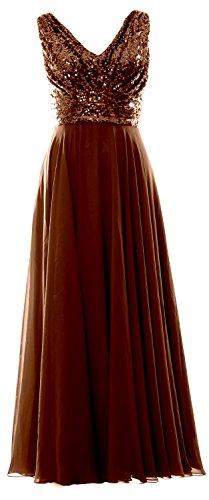 MACloth Women V Neck Sequin Chiffon Long Bridesmaid Dress Formal Evening Gown Bronze