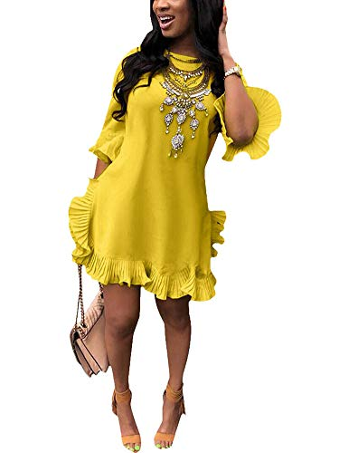 (Women Tunic Mini Dresses Round Neck Bell Sleeve Ruffle Assymetrical Hem Loose Casual Shift Dress Yellow X-Large)