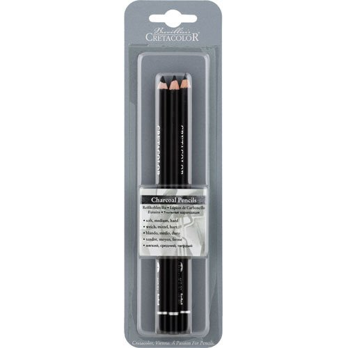 Cretacolor Charcoal Pencil 3Pk Sft Med Hard