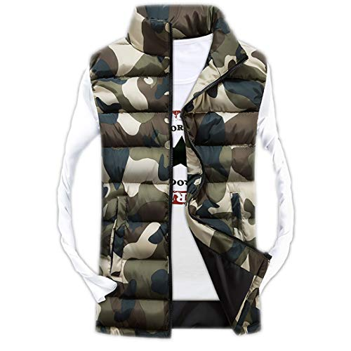 Slim Giubbotto Senza Camouflage Uomo Camo 3 Giacche Maniche Stand Panciotto Casual qE0w5E