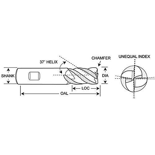 Rushmore 3//16x 5//8LOC AlTiN Coat Carbide 3 Flute 37/° Rough Single End Mill