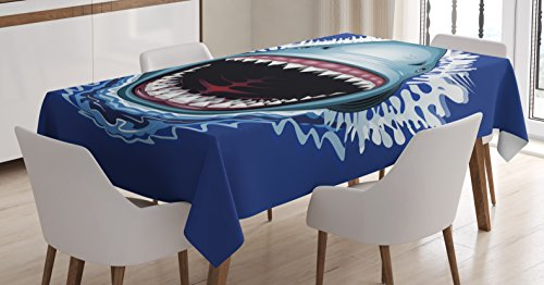 Shark Tablecloth by Ambesonne, Attack of Open Mouth Sharp Teeth Sea Danger Wildlife Ocean Life Cartoon, Dining Room Kitchen Rectangular Table Cover, 60 W X 84 L Inches, Royal Blue Teal