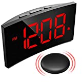 PICTEK Loud Alarm Clock with Wireless Bed Shaker, Digital Alarm Clock for Heavy Sleepers, 3 Alarm Sound, Large Red Display with 6 Dimmer, Bedroom Clock for Kid Deaf Hard of Hearing