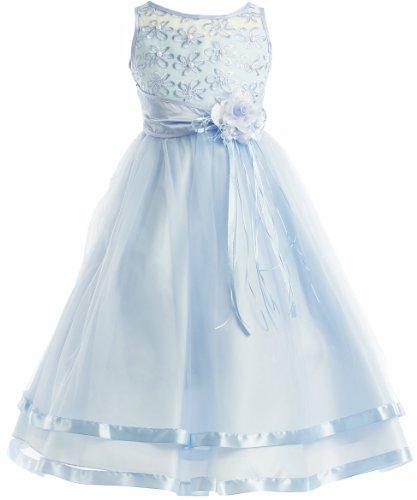 Peek-A-Boo Illusion Ribbon Communion Flower Girl Pageant Dress - Blue 16