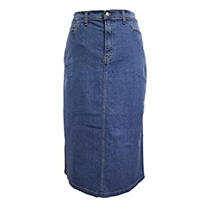 Ladies's Light Blue Stonewash Stretch Denim Maxi Skirt