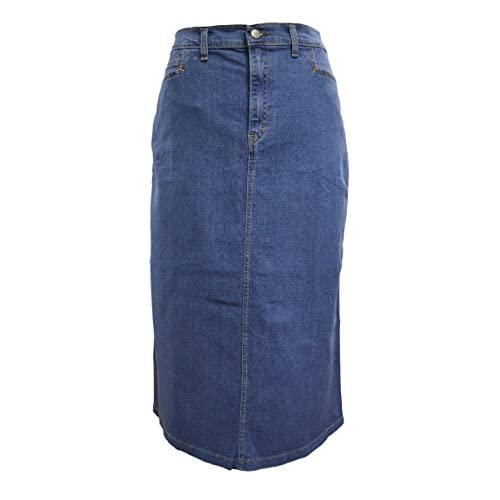 well-wreapped Ladies Light Blue Stonewash Stretch Denim Maxi Skirt ...