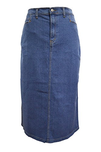 Ice Cool Ladies Light Blue Stonewash Stretch Denim Maxi Skirt Sizes 12 to 26, Length 35