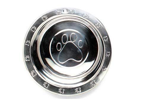 MPP Pawprint Embossed Dog Bowls Stainless Steel Pet Dishes Extra Wide Rim Pick Size (2qt / 64oz)