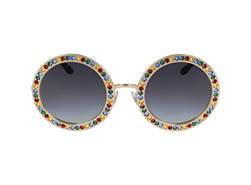 Dolce & Gabbana Women's Round Crystal Sunglasses, Gold Multi/Grey, One - Dolce And Round Gabbana Sunglasses