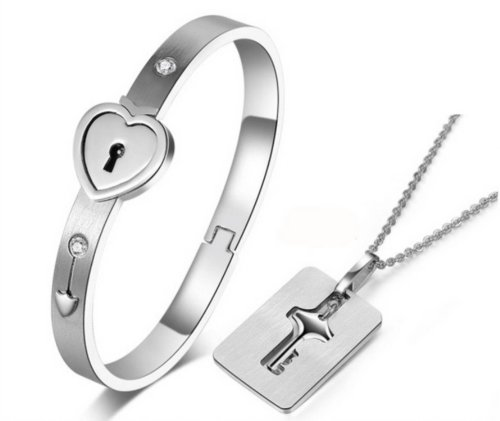 MANDI HOME New Silver Stainless Steel Bracelet Love Heart Lock Bangle Key Pendants Necklace - Heart Lock Bracelet