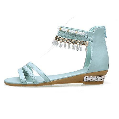 Zanpa Mujer Dulce Bohemia Plano Chicas Sandales Azul