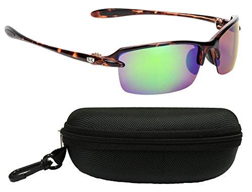 Strike King Plus SG-SKP31-CS Sabine Polarized Sunglasses Bundle, Shiny Tortoise Shell Frame with Multi Layer Green Mirror Gray Base Lens, with Black - Shell Tortoise Amazon Sunglasses