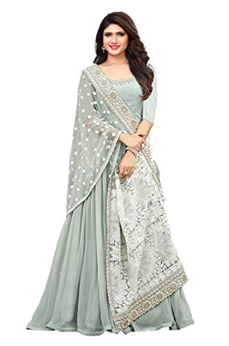 (STELLACOUTURE Embroidered Salwar Suit Ethnic wear Indian Pakistani Anarkali Salwar Kameez Maisha (Sky Blue, S-38))