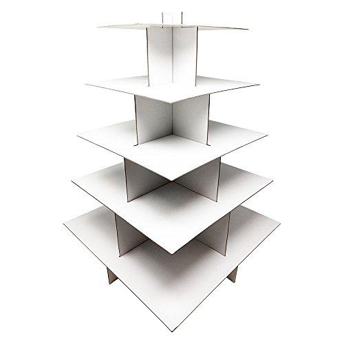 White 5-Tier Square Cardboard Cupcake Stands, Decorations, Birthdays, Weddings, Anniversaries, School Functions -