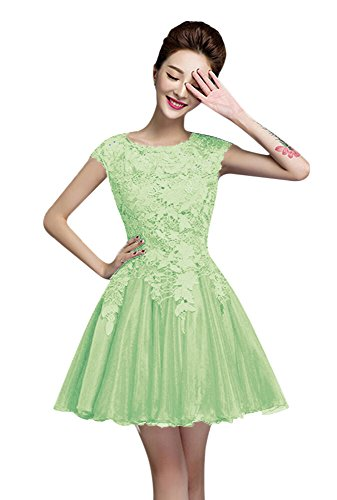 Short Cap Sleeces Monday Homecoming Dress Prom Mint Dress Lace Cyber