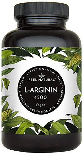 L-Arginin - 365 vegane Kapseln mit 4500mg pflanzlichem L Arginin HCL aus Fermentation (davon 3750mg reines L-Arginin) je Tagesdosis - Ohne Zusätze, hergestellt in Deutschland