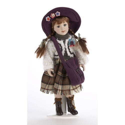 Delton 10 Inches Porcelain Sweater Doll, Purple (Dolls Porcelain Small)