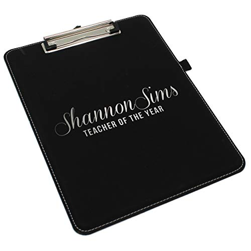 Monogrammed and Personalized Clip-Board, Document Holder - Customized Office Gift for Coaches, Professionals, Graduates, Students, Lawyers (Black with Silver)