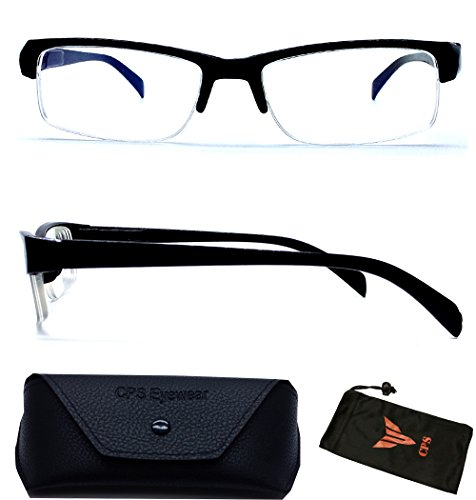 (#WYM850 Blk) Half Frame Myopia Eyeglasses Short Sight Glasses Nearsighted +INCLUDED FREE Hard Case (Strength: - Frames Glasses Discount Prescription