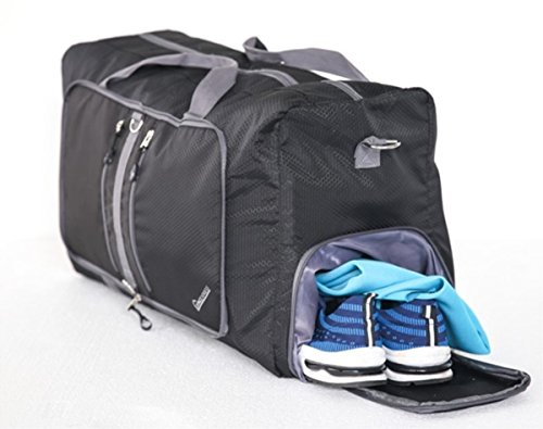 60L Foldable Duffel Bag Water & Tear Resistant Travel Luggage Bag with Shoes Pouch by Living Express (Black)