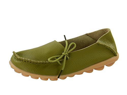 Century Star Women's Casual Cowhide Lace-Up Slip-On Driving Moccasin Loafer Flats Slippers Boat Shoes R Grass Green