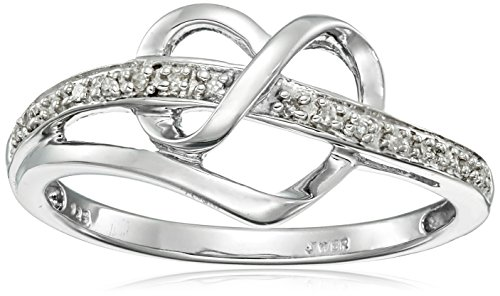 Sterling Silver Diamond Accent Heart Ring, Size 6
