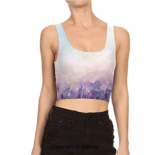- Women Sexy Cami Vest Crop in Serene Meadows Abstract Artistic Tank Top Blouse