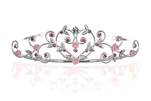 Rose Flower Rhinestone Crystal Wedding Tiara Crown - Pink Roses Silver Plating