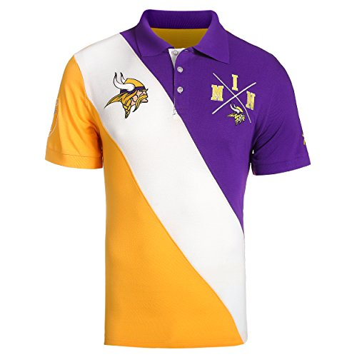 Klew Minnesota Vikings NFL Men's Diagonal Stripe Polo Shirt