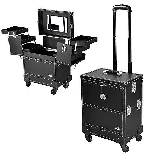 AW 14X9X19 inch Black PVC Rolling Makeup Cosmetic Train Case Lockable Wheeled Box ()