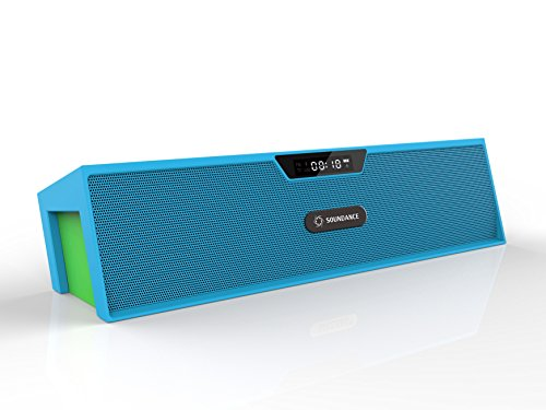 Soundance Bluetooth Speakers with FM Radio, Alarm Clock, Built-in Mic, LED Display, Support 3.5 mm Audio Jack, Micro SD Card & USB Input, Model SDY019(Blue)