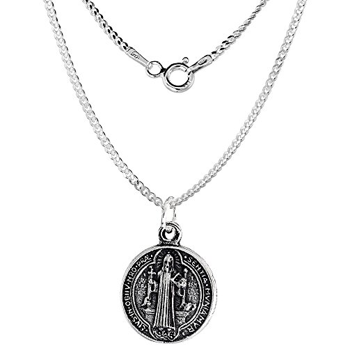 Sterling Silver Saint Benedict Necklace