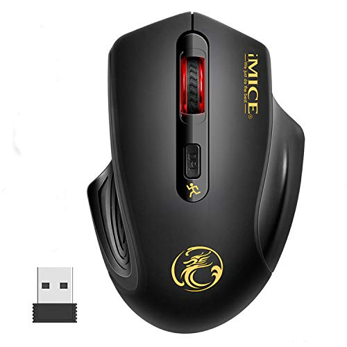 iAmotus Raton Inalambrico, 2.4GHz Wireless Raton Silencioso Optico 3DPI de Ajustable con Nano USB Receptor de Mouse Ergonomico para Escritorio/Windows/Linux/Vista/PC/Mac