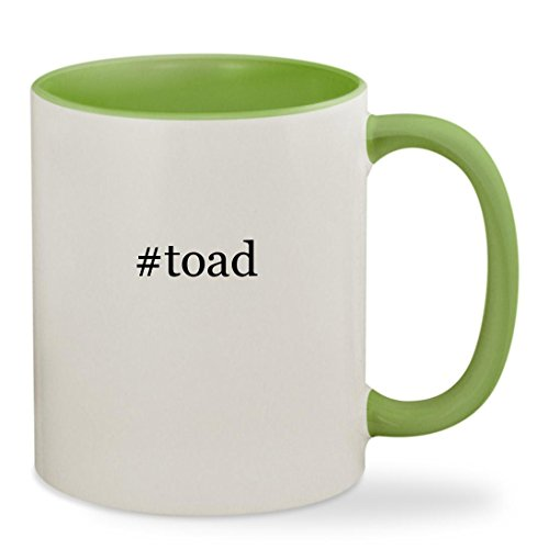 #toad - 11oz Hashtag Colored Inside & Handle Sturdy Ceramic Coffee Cup Mug, Light Green - Yellow Toad Mario Costume