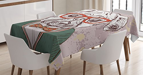 Dog Lover Decor Tablecloth by Ambesonne, Vintage Illustration of Old Hipster Pug Dog with Red Glasses and Bow Master of Professor, Rectangular Table Cover for Dining Room Kitchen, 52x70 Inch, Multi