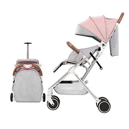 YBL Lightweight Four Rounds Urban Baby Strollers Folding Newborn and Toddler Girls boy Baby Carriage for 0-4 Years (Pink)