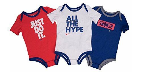 Nike Boys' Infant 3 Pack Bodysuit Set (3-6 Months, Navy/W...
